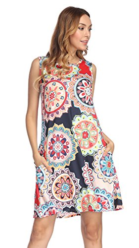 Demetory Women's Sexy Sleeveless Floral Print Bohemian O-Neck Tank T-Shirt Dresses with Pocket (Red, Large)