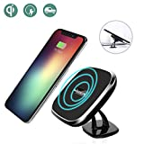 Wireless Car Charger, Nillkin [2nd Generation] 2-in-1 Qi Magnetic Wireless Car Mount Charging Pad for iPhone 8/8 Plus/iPhone X/ Galaxy Note 8/S8/S8 Plus All Qi-Enabled Devices - Black