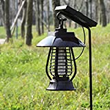 YunZyun Solar Powered Mosquito Repellent Light Lantern Shape LED Mosquito Killer Lamp & Bug Mosquito Killer Insect Repeller Light for Home and Garden (Brown)