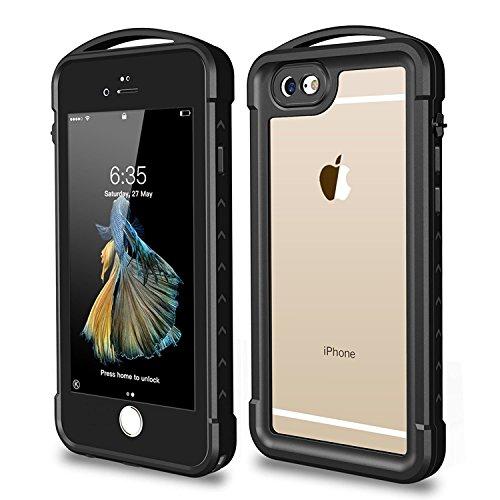 SNOWFOX iPhone 6 / 6s Waterproof Case, Outdoor Underwater Full Body Protective Cover Snowproof Dustproof Rugged IP68 Certified Waterproof Case for Apple iPhone 6 / 6S (Black)