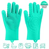 Pccooler Dishwashing Scrub Gloves | 2019 Upgrade Version 2-Sided Multi-Function Cleaning Gloves, Reusable Silicone Sponge Dish Scrubber for Kitchen, Bathroom, Car Wash, Household, Pet Hair
