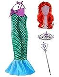 The Little Girls Mermaid Princess Dress Costume Wig Tiara Wand(5T-6T) Green