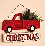 Farmhouse Rustic Christmas Wall Decor Wooden Red Pick Up Truck Hauling Trees Home Christmas Sign