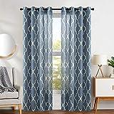 jinchan Quatrefoil Linen Curtains Lattice Moroccan Tile Printed Curtain Panels Drapes for Bedroom Living Room Window Patio Door 108' Blue 2 Panels