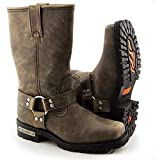 Xelement LU2604 Women's Stone Wash Brown Leather Harness Motorcycle Boots - 6