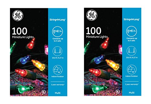 GE String A Long 100 Count Indoor / Outdoor Mini Multicolor Holiday Lights Set on Green Wire (2 Pack)