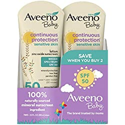 Aveeno Baby Continuous Protection Zinc Oxide Mineral Sunscreen Lotion With Broad Spectrum SPF 50, 3 Fluid Ounce (2 Pack)