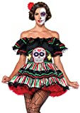Leg Avenue Women's 2 Piece Day of The Dead Doll, black/Multi, X-Large