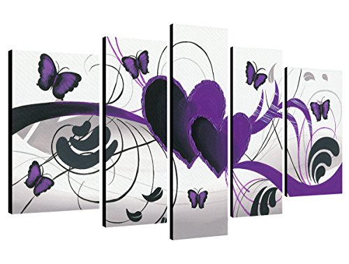 Purple Love Butterfly 5 Panels Modern 100% Hand Painted Stretched and Framed