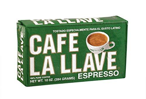 Café La Llave Espresso, 100% Pure Coffee, Rich and Aromatic, Fine-Grind, Dark-Roast, 10-Ounce Vacuum Sealed Brick Pack