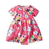 terbklf Toddler Kids Baby Girls Summer Classical Stylish Short Sleeve Floral Dress Princess Romper Dresses Clothes Pink