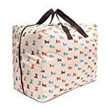 Thick Oxford cloth quilt storage finishing dust bag clothing storage box travel large moving bag beige puppy trumpet