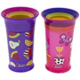 Sassy 360 Grow Up Spout Less Sippy Cup, 9 oz, Purple/Pink, Styles May Vary