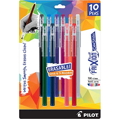 PILOT FriXion Color Sticks Erasable Gel Pens 10-pack of Assorted Colors (32454) Black, Gray, Hunter Green, Blue, Purple, Magenta, Salmon Pink, Red, Orange, Navy, Erase Mistakes without White Out