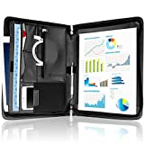 Portfolio Organizer for Men and Women - Zippered Padfolio PU Leather Binder Organizer with Pockets for iPad, Business Cards, and Smartphone - Professional Interview Resume Document Holder