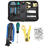 Coax Cable Crimper Kit, Compression Tool Coax Cable Crimper Kit, Adjustable RG6 RG59 RG11 75-5 75-7 Coaxial Cable Stripper with 20 PCS F Compression Connectors
