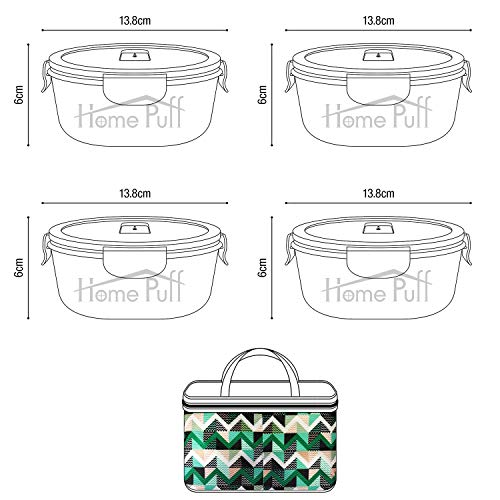 51e3ByOIDxL - Home Puff Borosilicate Glass Lunch Box H29 Microwavable, AirVent Lid, Premium Carry Bag (320 ML, Set of 4)