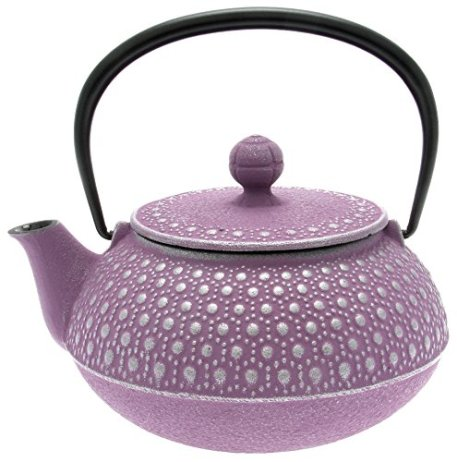 Iwachu Japanese Iron Tetsubin Teapot, Honeycomb, Silver and Lavender