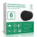 "2 Years Supply Extra Thick Universal Size Activated Charcoal Kitchen Compost Bin Filters - Fits ALL Compost Bins up to 7.25"" Filter Size - Replacement Odor Filters Set of 6 (by Simply Carbon)"