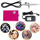Airbrush Makeup Kit, Fy-light Cosmetic Makeup Airbrush and Compressor System for Face, Nail, Temporary Tattoos, Cake Decorating (Pink)