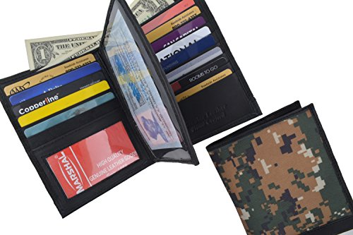 Marshal Bifold Leather RFID Blocking Wallet For Men & Women |Genuine Leather Holder With 20 Slots, 2 Bill Compartments & ID Window | Hipster wallet Money, Driver's License, Travel & More (Camouflage)