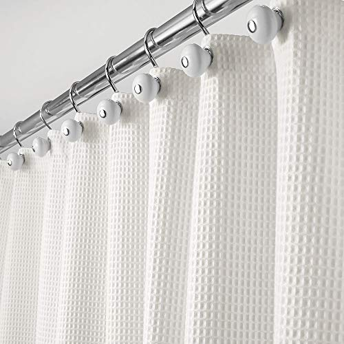 mDesign Hotel Quality Polyester/Cotton Blend Fabric Shower Curtain with Waffle Weave and Rustproof Metal Grommets for Bathroom Showers and Bathtubs - 72' x 72' - Stone White