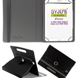 Acm Rotating Leather Flip Case Compatible with Byju Learning Tab 10 Inch Tablet Cover Stand Black