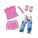 18 Inch Doll Clothes | Amazing Mix and Match Running Exercise Outfit, Includes Pink Shorts, Matching T-Shirt, Multi-color Leggings and Cool Pink Sneakers | Fits American Girl Dolls