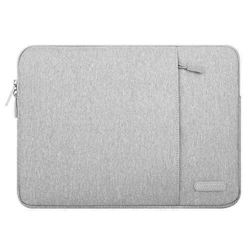 MOSISO Polyester Vertical Style Water Repellent Laptop Sleeve Case Bag Cover with Pocket Compatible 13-13.3 Inch MacBook Pro, MacBook Air, Notebook, Gray