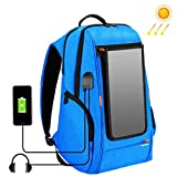 HAWEEL External Frame Backpack with 7 Watts Solar Panel Charge for iPhone iPad iPods Android Smart Phones Perfect for Hiking Camping Trekking Fishing Emergency and Outdoor Sports