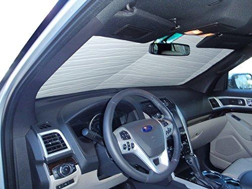 The Original Windshield Sun Shade, Custom-Fit for Ford Explorer SUV w/o Sensor 2011-2019, Silver Series