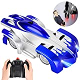 ROOYA BABY Remote Control Car Toys for Boys, Gravity Defying RC Car Wall Climbing Car USB Rechargeable Mini 360 Rotating Stunt Vehicle Toy Car for 5-8 Year Old Boys Gifts Blue
