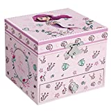SONGMICS Ballerina Music Jewelry Storage Box, Gift for Little Girls, Mermaid Theme, Over The Waves Melody, Lilac UJMC015PL