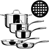 Duxtop SSC-9PC 9 Piece Whole-Clad Tri-Ply Induction Cookware, Stainless Steel