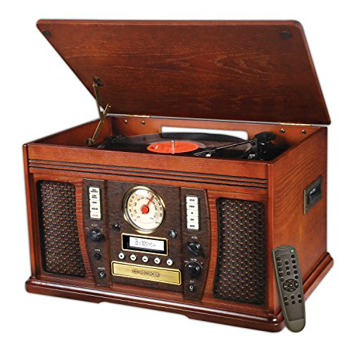 Victrola Nostalgic Aviator Wood 7-in-1 Bluetooth Turntable Entertainment Center, Mahogany