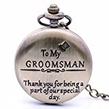 Product review of Vintage Bronze to My Groomsman Quartz Pocket Watch for Wedding Gift, Mens Watch Womens Pocket Watch with Chain + Box