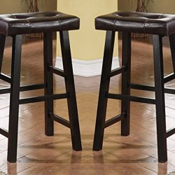 Bobkona Drake Set of 2, Country Series Bar Stool – 29″H – in Espresso Finish with Faux Leather
