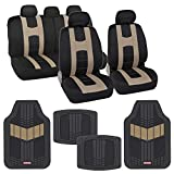 BDK OS319MT688 AutoSport Full Set Combo All Protective Seat Covers (2 Front 1 Bench) with Heavy-Duty All-Weather Rubber Floor (4 Mats) for Car Auto - Sedan Truck SUV Minivan