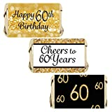 DISTINCTIVS 60th Birthday Party Miniatures Candy Bar Wrapper Stickers - Gold and Black - 45 Count