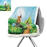 Cartoon Decor Lightweight Fluffy Flannel and Sherpa Blanket,Fantasy Dragon on Waterfall Cave by Castle Fiction Fairy Kids Myth Illustration,Multi,Plush Throw Blanket W59xL78.7 Inch