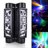 Betopper Spider Spot Moving Head Light LED DJ Lighting RGBW, 8 x 3W DMX 512 Dual Sweeper Pulse Strobe Effect, for Restaurant,Live,Concert Lighting