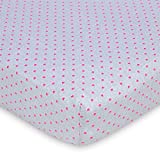 Gerber Baby Girls 100% Jersey Knit Cotton Printed Crib Sheet - Hot Pink Hearts