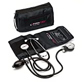 Manual Blood Pressure Cuff by Paramed - Professional Aneroid Sphygmomanometer with Carrying Case - Adult Sized Cuff - Blood Pressure Monitor Set with Stethoscope (Black)