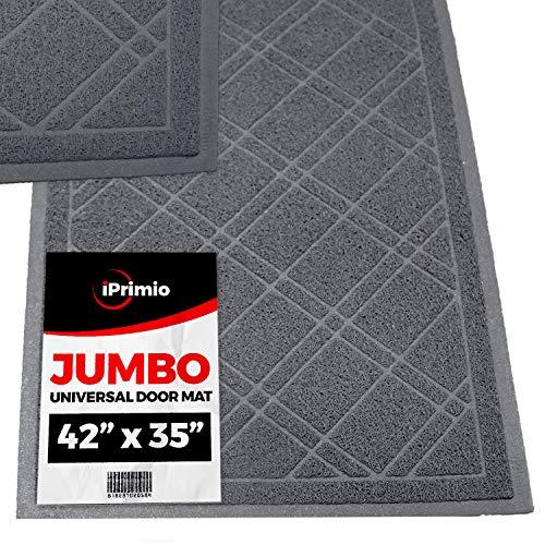 SlipToGrip Jumbo Door Mat Indoor / Outdoor 42'x35' Gray Duraloop