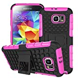 Galaxy S6 Case, MPERO IMPACT SR Series Dual Layered Tough Durable Shock Absorbing TPU Textured Non Slip Reinforced Polycarbonate Hybrid Kickstand Case for Samsung Galaxy S6 [Perfect Fit & Precise Port Cut Outs] - Hot Pink