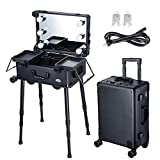 AW Rolling Makeup Case 12x8x20' with LED Light Mirror Adjustable Legs Lockable Train Table Studio Artist Cosmetic