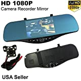 5' Monitor 1080P Full HD Blue Tint Front/Backup Rear Camera Video Recorder Rearview Rear-View SD Inside Mirror US Seller