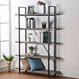 Product review for HSH Furniture 5-Shelf Vintage Industrial Bookcase, Wood and Metal Rustic Open Bookshelf, Dark Oak