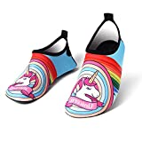 Girls&Boys Unicorn Water Shoes Barefoot Slip-on Shoes,Kids Quick-Dry Aqua Shoes for Surf Swim Diving Water Sport (8.5-9 M US Toddler, Unicorn)