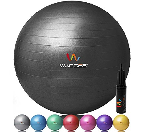 Wacces Professional Exercise, Stability and Yoga Ball for Fitness, Balance & Gym Workouts- Anti Burst - Quick Pump Included (Black, 55 cm)